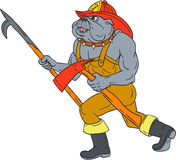 Bulldog Firefighter Pike Pole Fire Axe Drawing Royalty Free Stock Photos