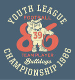 Bulldog football team. Artwork for children sport wear in custom colors royalty free illustration