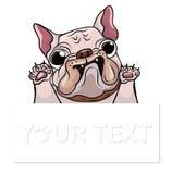 Bulldog francese del cucciolo disegnato a mano con il posto per il vettore del testo Sorriso felice del bulldog francese del fume Fotografia Stock Libera da Diritti