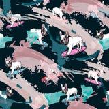 Bulldog francese sul modello senza cuciture delle sbavature e del pattino royalty illustrazione gratis