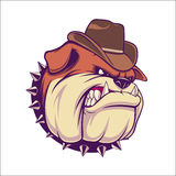 Bulldog Head Illustration with cowboy hat Stock Image