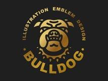 Bulldog head logo - vector illustration golden emblem Royalty Free Stock Image
