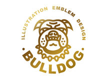 Bulldog head logo - vector illustration, golden emblem Royalty Free Stock Photo