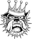 Bulldog king. Outline drawing of bulldog head wearing a crown and spiked collar in black and white Stock Photo