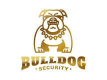 Bulldog logo - vector illustration, golden emblem Royalty Free Stock Photos