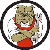 Bulldog Mechanic Arms Crossed Spanner Circle Cartoon Royalty Free Stock Photos