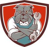 Bulldog Mechanic Arms Crossed Spanner Crest Cartoon Stock Photos