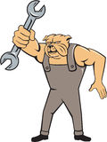 Bulldog Mechanic Spanner Standing Cartoon Stock Photo