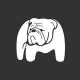 Bulldog monochrome silhouette. Monochrome hand drawn logotype of pointing bulldog on dark background. Easy editable. Vector concept design which can be used on Stock Images