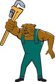Bulldog Plumber Monkey Wrench Isolated Cartoon Royalty Free Stock Images