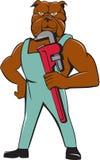 Bulldog Plumber Monkey Wrench Standing Cartoon Royalty Free Stock Image