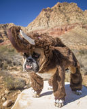 Bulldog posed as a Woolly Mammoth Stock Image