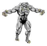 Bulldog scary sports mascot. An illustration of a Bulldog scary sports mascot with claws out Stock Photos