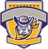 Bulldog Sheriff Cowboy Head Shield Retro Royalty Free Stock Image