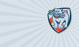 Bulldog Spanner Mascot Shield Stock Photos
