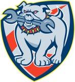 Bulldog Spanner Mascot Shield Stock Image