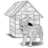 Bulldog standing in front of the doghouse. Dog standing in front of the doghouse. Adult antistress coloring page with french bulldog. Black and white animal stock illustration