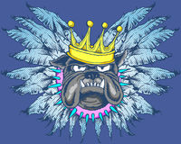 Bulldog with wings and crown. Pop art style bulldog with feathered wings wearing a gold crown and spiked collar on blue background Stock Photo