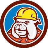 Bulldoggen-Bauarbeiter Head Cartoon Lizenzfreies Stockfoto