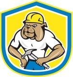 Bulldoggen-Bauarbeiter Holding Hammer Cartoon Stockfotografie