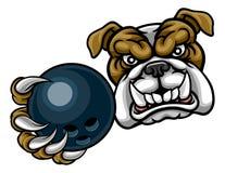 Bulldoggen-Hund, der Bowlingkugel-Sport-Maskottchen hält Lizenzfreie Stockfotos