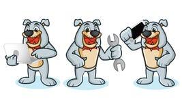 Bulldoggen-Maskottchen-Vektor mit Laptop Stockfotos