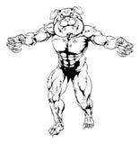 Bulldoggencharakterangreifen Lizenzfreie Stockbilder