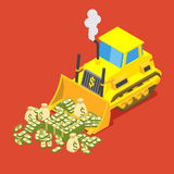 Bulldozed money Stock Photography
