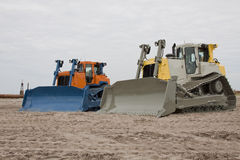 Bulldozer. Two new Bulldozers on Maasvlakte stock photos