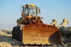 Bulldozer. Construction loader at a job site taking a break Royalty Free Stock Image