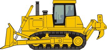 Bulldozer. Construction  bulldozer on a caterpillar base Royalty Free Stock Photography