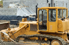 Bulldozer. Photo of bulldozer on building site royalty free stock images