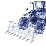 Bulldozer. 3d model bulldozer on a white background Royalty Free Stock Photos