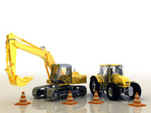 Bulldozer. 3d composition of a bulldozer  background Stock Photos