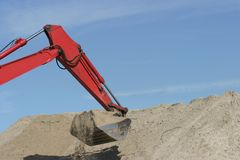 Bulldozer. Dig sand Royalty Free Stock Photography