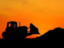 Bulldozer. Heavy bulldozer over orange background Stock Images