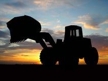 Bulldozer. Heavy bulldozer over orange background Stock Image