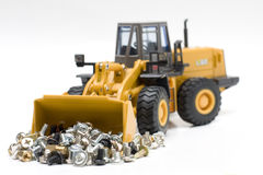 Bulldozer. The heavy building bulldozer of yellow color on a white background Stock Images