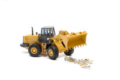 Bulldozer. The heavy building bulldozer of yellow color on a white background Royalty Free Stock Image