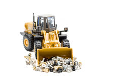 Bulldozer. The heavy building bulldozer of yellow color on a white background Royalty Free Stock Images