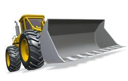 Bulldozer. Yellow bulldozer over white background (3D illustration Royalty Free Stock Photos