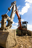 Bulldozer in action stock images
