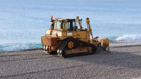 Bulldozer on the Beach of Nice Stock Photos