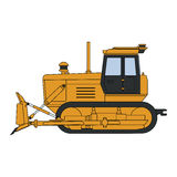 Bulldozer with blade. Yellow bulldozer with a blade. Vector illustration royalty free illustration