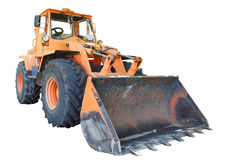 Bulldozer with bucket, isolated Stock Images
