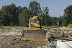 Bulldozer at building construction site Royalty Free Stock Photo