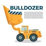 Bulldozer building machine realistic logo design on white. Crawler tractor Royalty Free Stock Photo