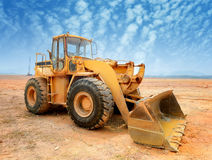 Bulldozer on building site Royalty Free Stock Images