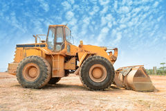 Bulldozer on building site Stock Image