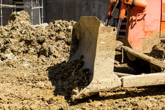 Bulldozer on building site Stock Photos